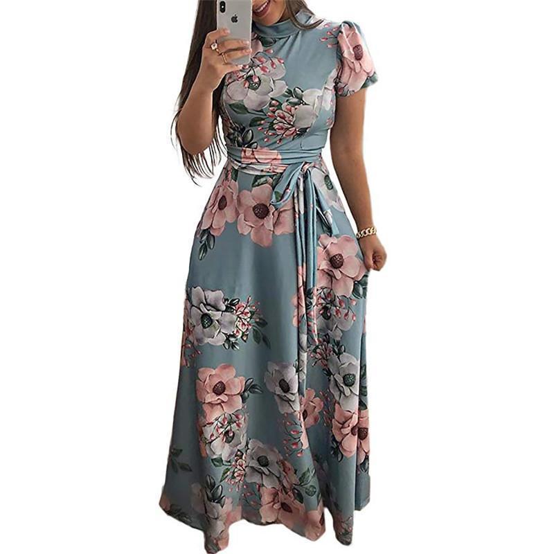 ddc719744 Compre Vestido Largo De Las Mujeres Maxi Dress 2019 Verano Estampado Floral  Boho Style Beach Casual Manga Corta Vendaje Party Dress Vestidos Más Tamaño  A ...