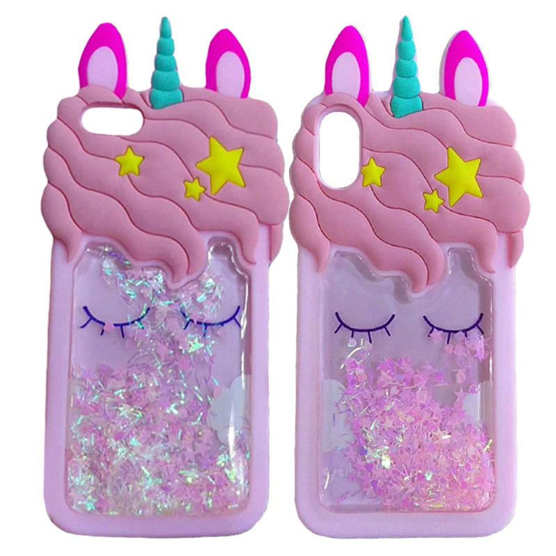 3D Cartoon Kawaii Unicorn Quicksand Glitter Case for IPhone X XS 8 7 6 6S PLUS I Phone X XS 8plus Phone Luxury Cases Cute Pink Glitter Cover