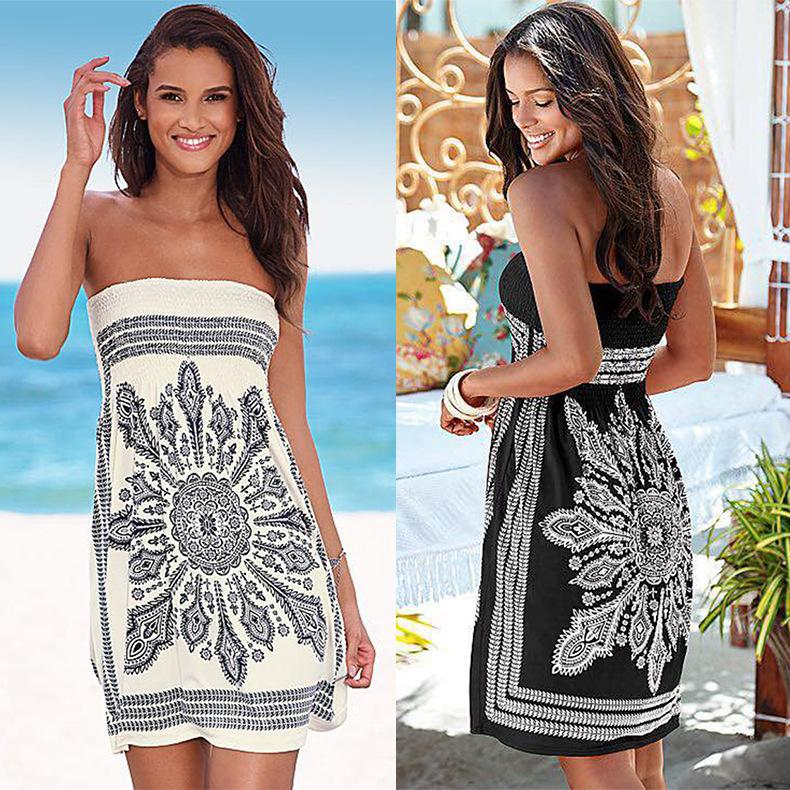 2972e3c045784 Womens Dresses 2019 New Arrival Printed Strapless Women Dresses Casual Sexy  Sleeveless Dress Ladies Summer Sexy Beach Skirts
