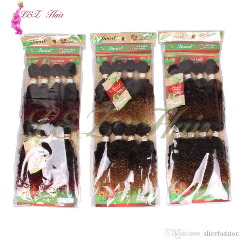 8inch 8-14inch 16-20inch 8pcs/pack Ombre Colored Jerry Curly 8inch/8-14 inch 8pieces/pack Black Brazilian Deep Loose Wave Braiding