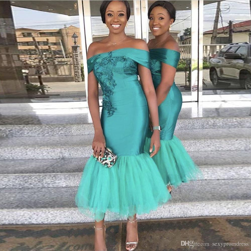 Robes De Demoiselle D Honneur De Couleur Turquoise Et Turquoise Sexy épaule Demoiselle D Honneur Robes De Mariée Pour Le Mariage En Satin Et Tulle