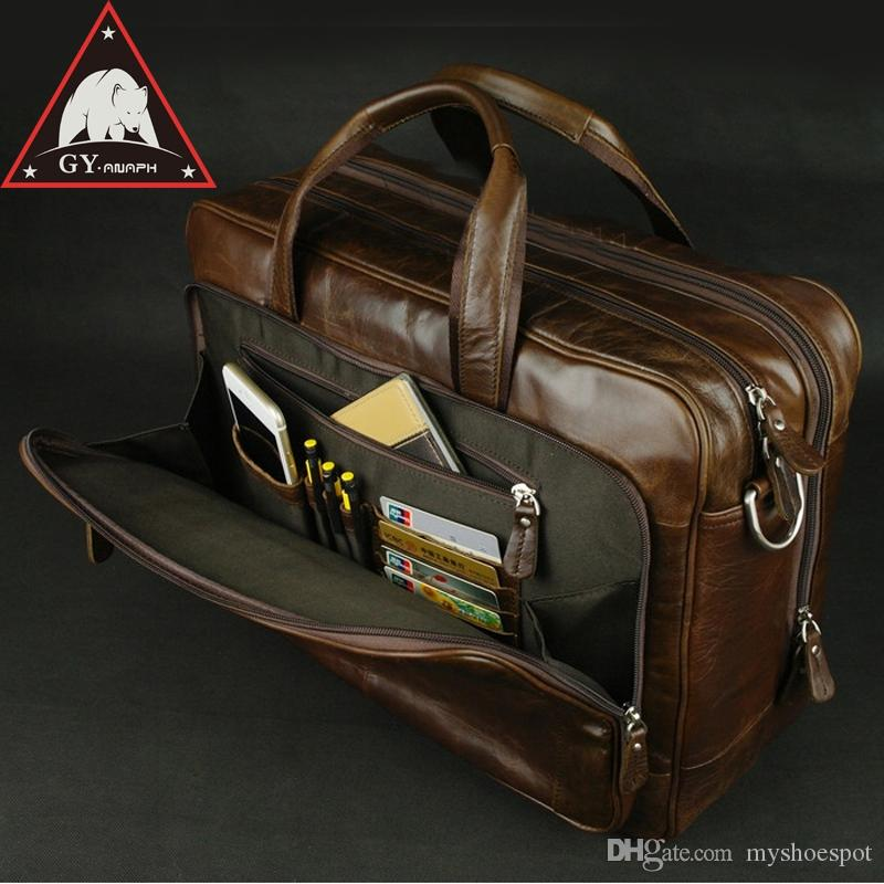 ANAPH Original Soft Genuine Leather Briefcase For Men Business Travel Bags  Attached 17 Inch Laptop Bag Large Capacity Coffee  88305 Mens Satchel  Overnight ... b1d9dc94a073a