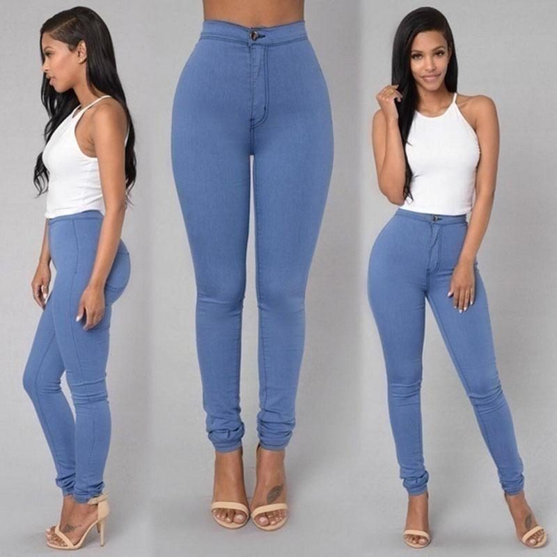 11fceefe01 2019 Fashion Full Length Trousers Ladies Regular White Black High Waist  Stretch Imitation Jeans Trousers Women Casual Pencil Pants From Cnddna