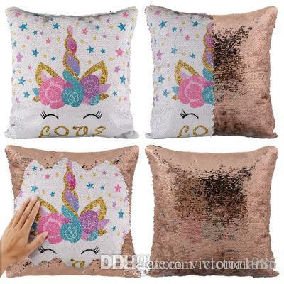 Miracille Reversible Sequins Unicorn Dekokissen Fall Home Sofa Dekorative Kissenbezüge 16