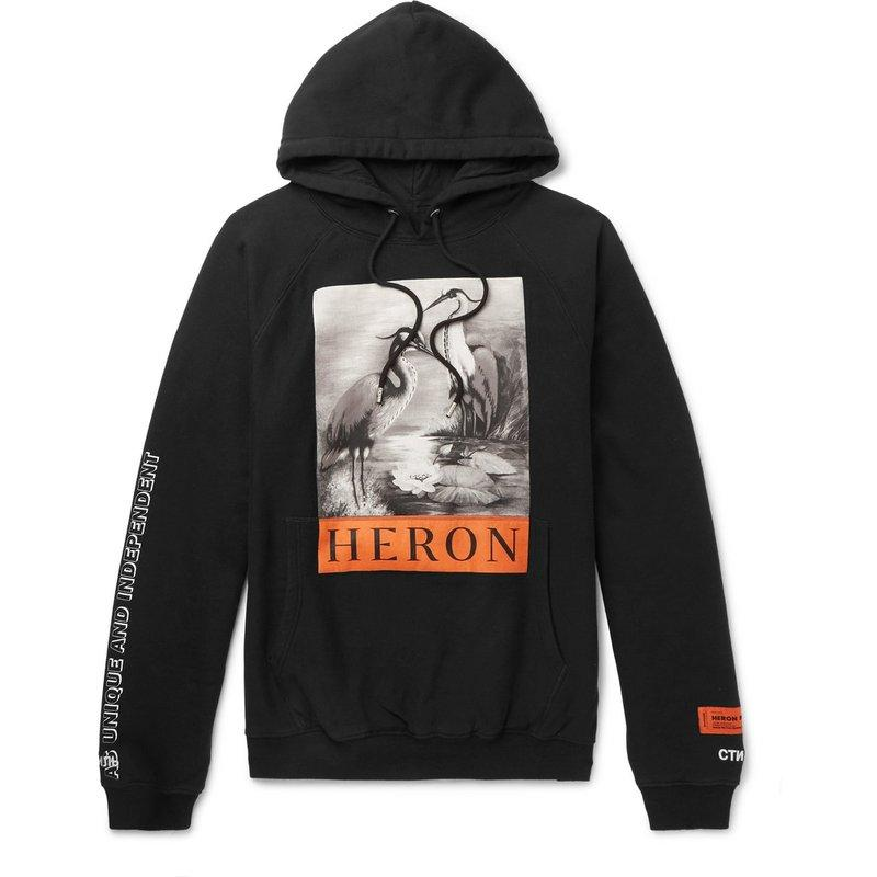 Heron Preston Hoodie HP New Black and White Crane Black Turtleneck Hoodie Men and Women Couples Loose Casual Jacket