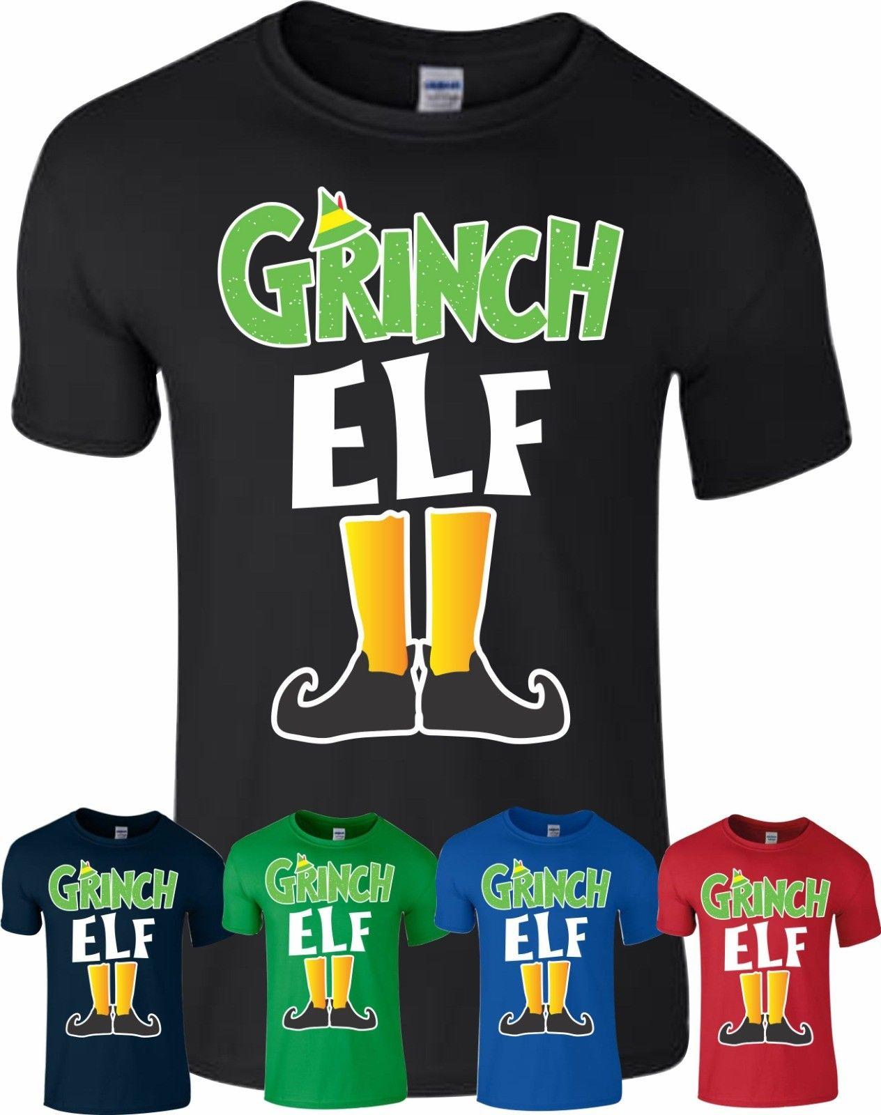 d176af830 Grinch Elf Christmas T Shirt Novelty Xmas Pyjama PJ'S Idea Kids Adult  Unisex Top Funny Unisex Casual Tee Gift Funny T Shirt Awesome T Shirts From  ...