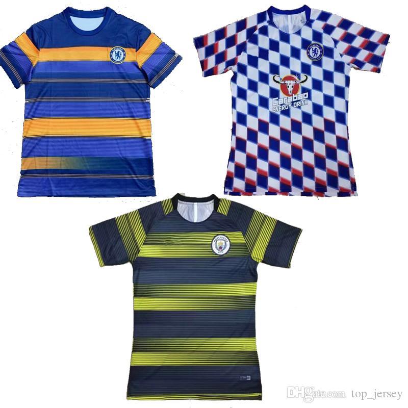 new arrival cf6b5 1cf82 Nuovo HAZARD Kante Chelsea Man City E-P-L calcio Warm-up allenamento  camicia thai qualità club allenamento tuta maglia da calcio 2018