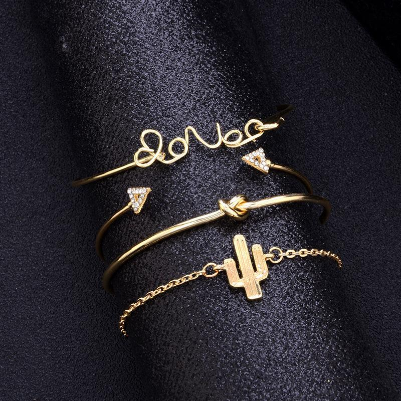 Love Letter Cactus Knotted 4 Piece Set Bracelet Retro Triangle Crystal Jewelry Bracelet for Women Jewelry Gift