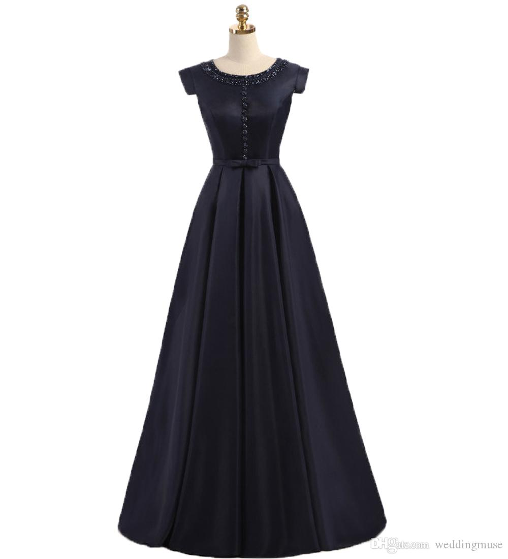 905e64179f Modern Satin Formal Evening Gowns 2019 Round Neck Navy Blue Beaded Prom  Dress Floor Length Sexy Party Dress Special Occasion Dresses Cheap Evening  Dresses ...