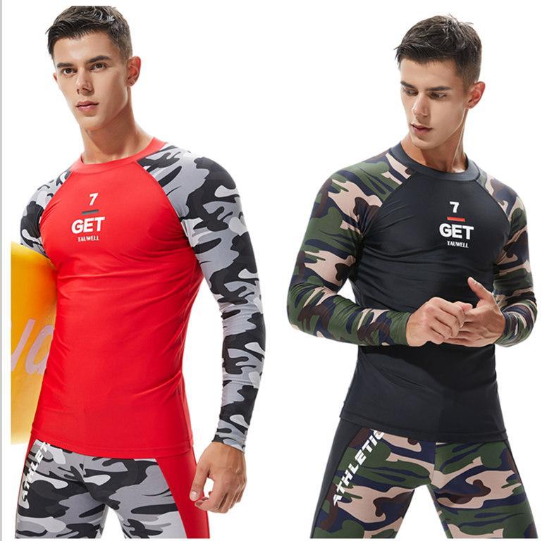 0b7522b9f964a Men Long Sleeve Wetsuit Swimwear Surf Shirt Rashguard Diving Suit Rash Guard  Quick Dry Sun Protection Swimsuit Upf 50+ Wind Surf