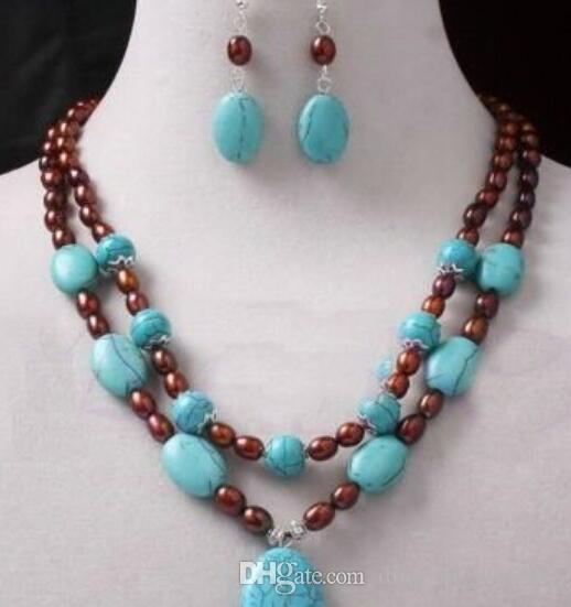 nueva estilos ffcbd a70e6 Joyería caliente rápido vino de agua dulce 6X8mm perla azul turquesa collar  de cadena aretes conjunto de pendientes