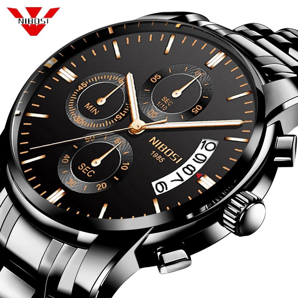 200fe0e7bcba Compre Nibosi Reloj De Los Hombres De Moda Deporte Reloj De Cuarzo Relojes  Para Hombre De Primeras Marcas De Lujo De Acero Completo De Negocios Reloj  ...