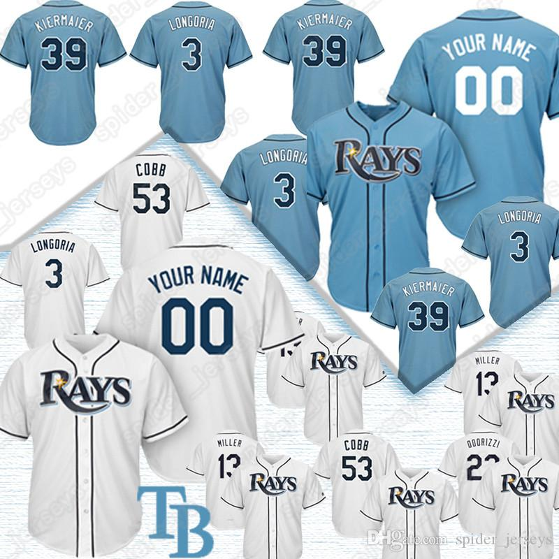 best website 78026 99a74 Custom Tampa Bay Jersey Ray 12 Wade Boggs 3 Evan Longoria 39 Kevin  Kiermaier Jerseys Any name Any number 2019 new