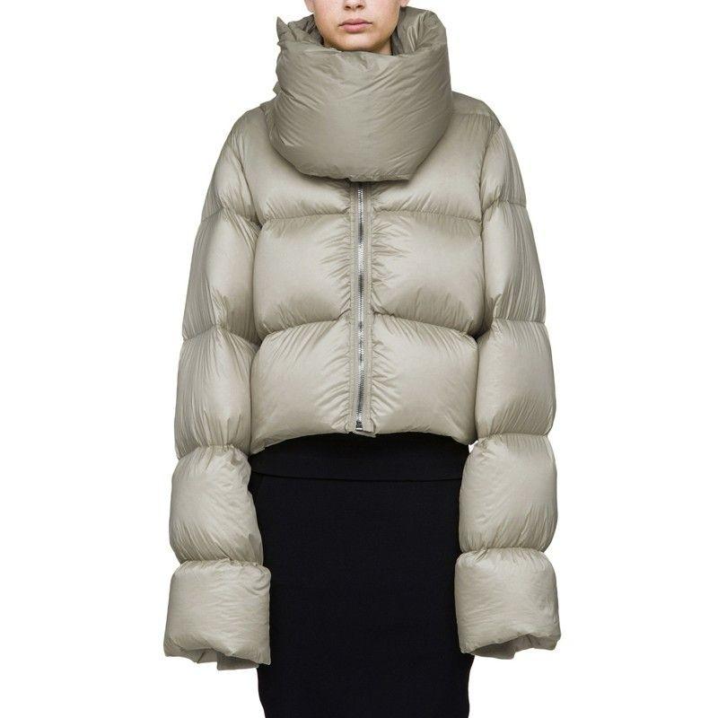 8911556f3 High-collar Thicker Ultra-Long Sleeve Snow Wear White Duck Down Coat  European 2018 Winter Jacket Women Short Outerwear A969