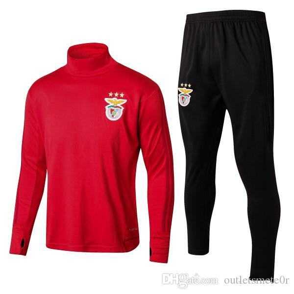 brand new 3ea9f 73594 17 18 Benfica Long Sleeve Training Suit Kit Sport Lisboa High Collar Red  Football Uniform SL Benfica Training Top Joggers Set