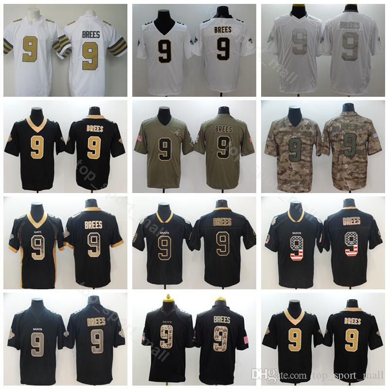 huge selection of 773a5 6a085 New Orleans Football Saints 9 Drew Brees Jersey Men Vapor Untouchable  Salute to Service USA Flag Shadow Hyphenation Black Camo White