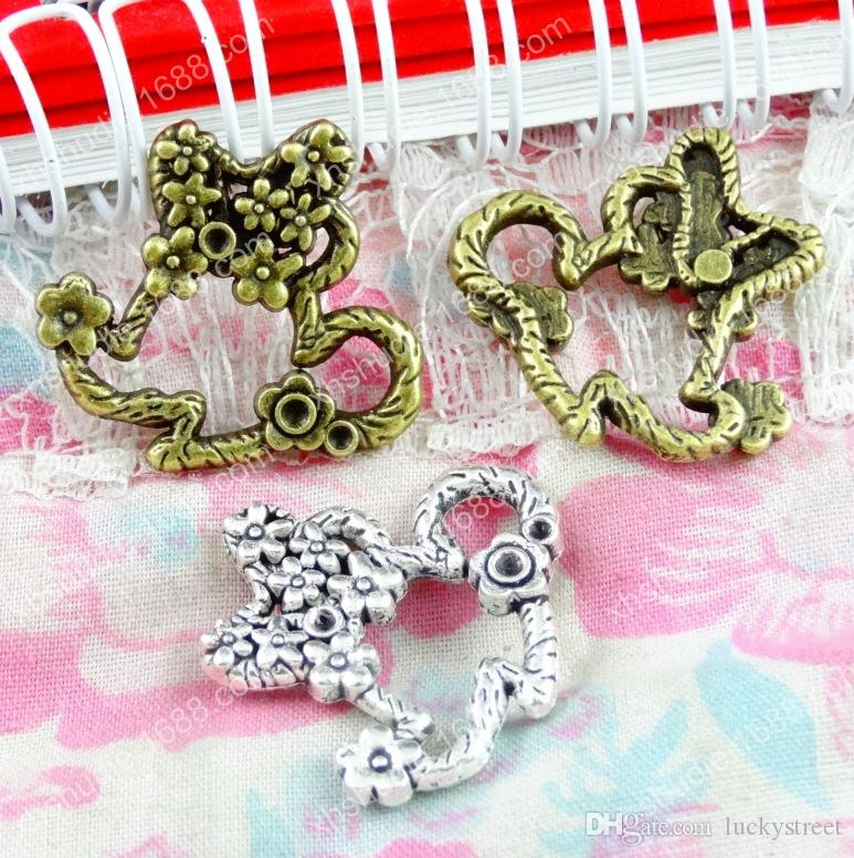 50pcs 25*22.8MM Antique silver tibetan bronze flower mouse charms for bracelet vintage metal pendants earring handmade DIY jewelry making