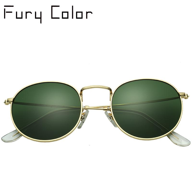 588aa7492d2 G15 GLASS Lens Luxury Round Sunglasses Women Brand Designer Retro ...