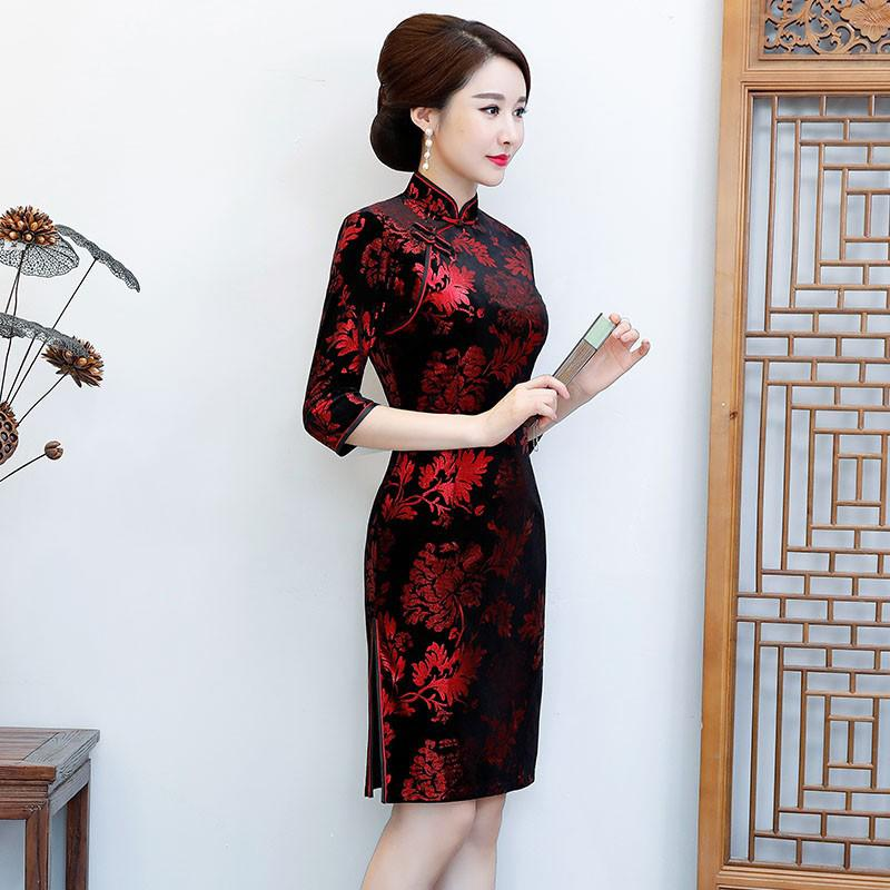 Women's Clothing 2019 New Style Plus Size S-4xl Sexy Cheongsam 2018 Spring Traditional Chinese Style Velour Long Dress Womens Qipao Slim Party Dresses Vestido