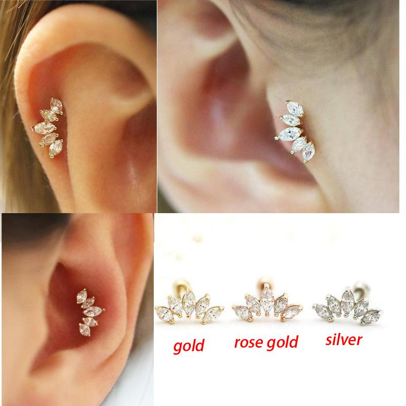 2019 Stainless Steel Cubic Zircon Crown Cartilage Tragus Earring