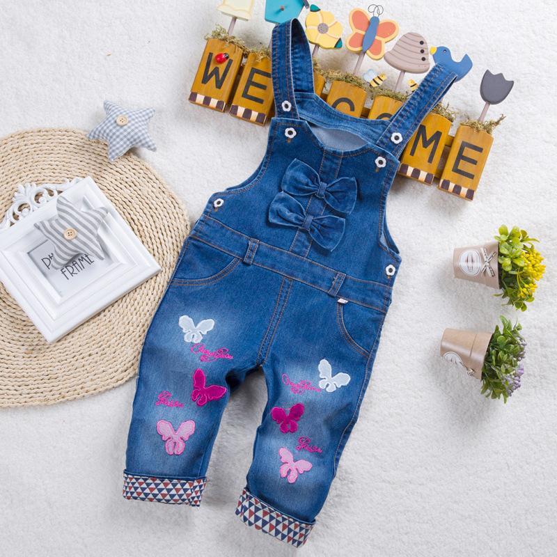 628da5f84c ... Calidad 2019 Trajes De Bebé Pantalones De Mezclilla De Mezclilla  Ocasionales Para Niñas De Dibujos Animados Mariposa Chicas Jeans Overoles Para  Niños ...