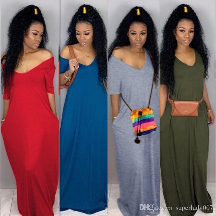 new products 37458 1ce3f Sexy einfarbig hohe Qualität weites Halskleid beiläufige lose lange Kleider  lange Strandröcke der Frauen V-Ausschnittröcke