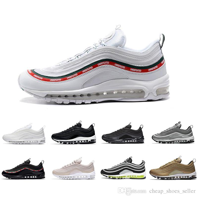 f9e93afac17 97 Shoes 2019 Running Shoes 97s OG Gold Silver Bullet Triple White ...