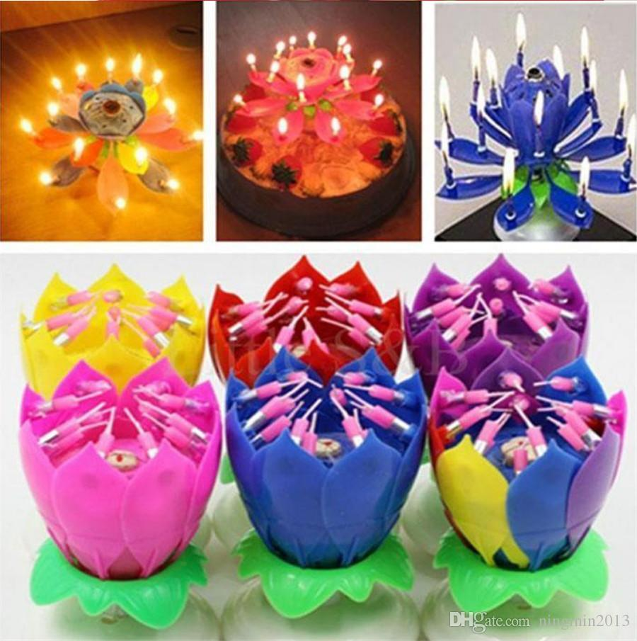 1PCS rotate Lotus Flower Music Candle Beautiful Blossom Lotus Flower Candle Birthday Party Cake Music Sparkle Cake Topper Free Shipping