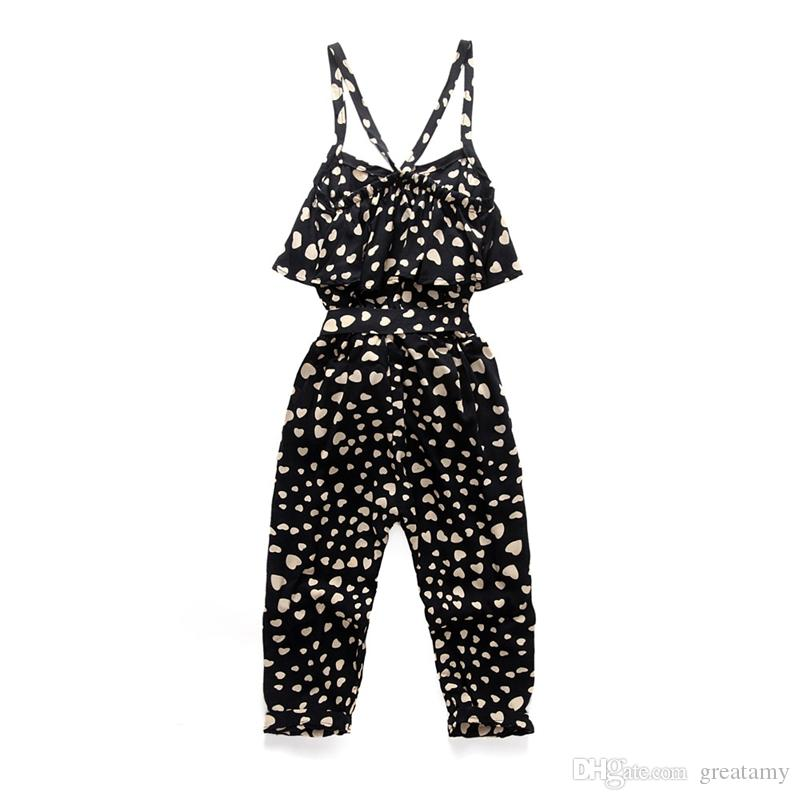 2fc626279dea 2019 Toddler Girls  Cute Love Heart Print Sleeveless Overall Black Jumpsuit  INS Infant Baby Gilrls Kids Summer Dot Children Clothes Boutiques From  Greatamy