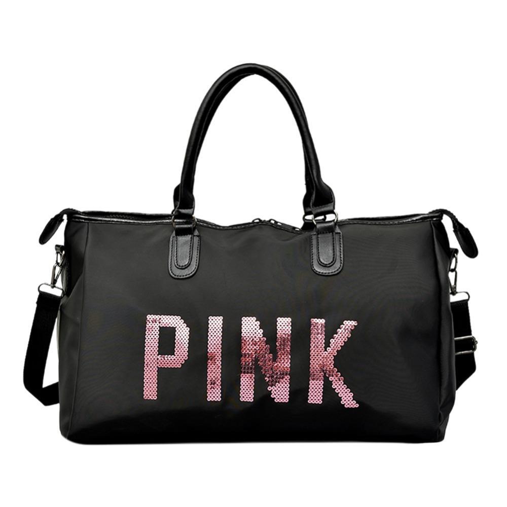 3e5cd7586ab9 2018 Ladies Black Travel Bag Pink Sequins Shoulder Bag Women Handbag Ladies  Weekend Sport Portable Duffel Bag Waterproof Bolsos Briefcase Leather  Backpack ...