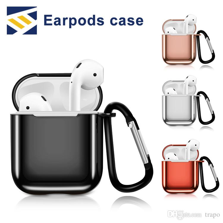 For Apple AirPods cases Protective Shockproof electroplate Hard plastic Case Pouch With Anti-lost Strap Dust Plug Retail Package