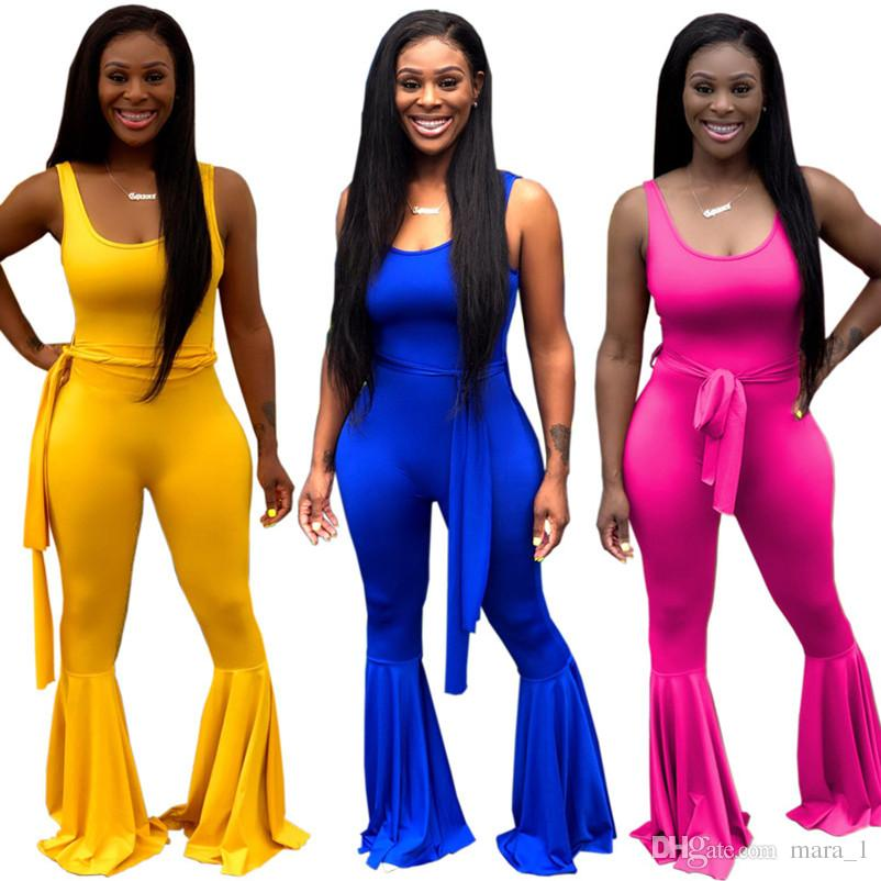Women Boot Cut Pants Sleeveless Jumpsuits Rompers Tank Overalls Bell Bottom One Piece Capris Summer Fall Clothing Plus Size S-2XL 990