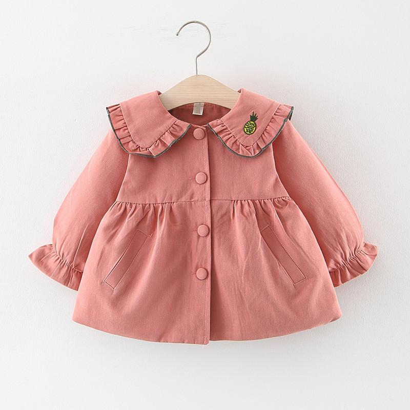 Autumn 2019 Baby Girls Embroidery Fruit Lapel Collar Princess Party Trench Jacket Kids Fashion Outerwear Coats casaco