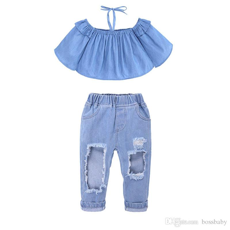 2019 Kids Two Piece Suit Baby Girl One Shoulder Sets Girl Hole Jeans Sling  Long Bell Sleeve Coat Elastic Waist Pants 6 From Bossbaby, $10.16 |  DHgate.Com