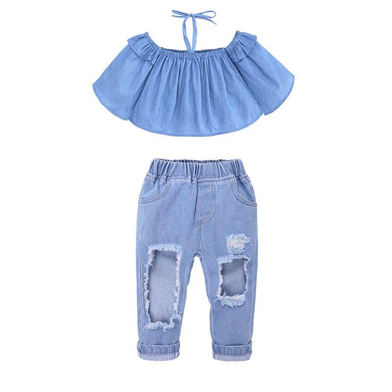 857aac03f Traje de dos piezas para niños, niña bebé, conjuntos de hombro, niña,  pantalones vaqueros, honda, abrigo largo de manga de campana, pantalones de  ...