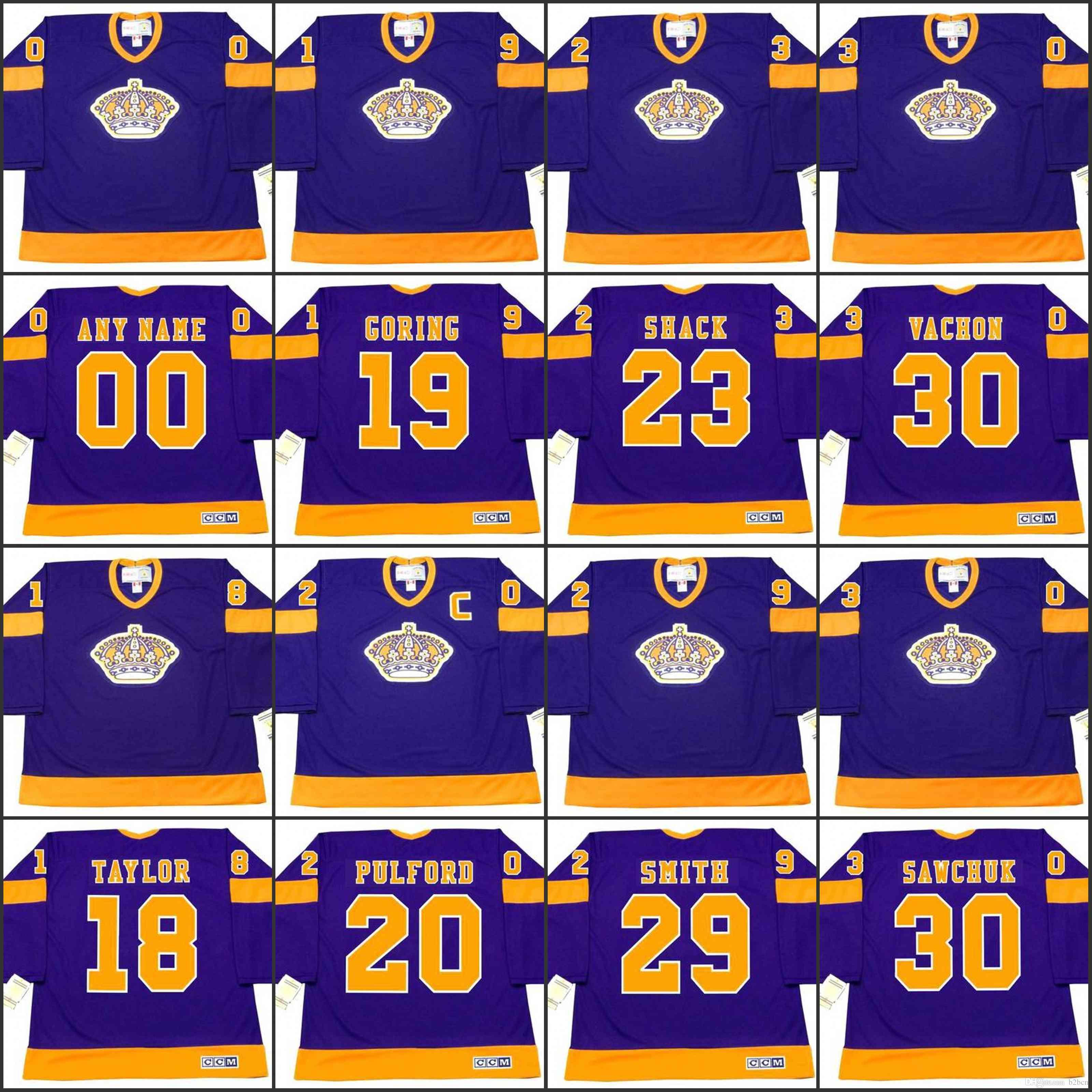 d062d271 2019 18 DAVE TAYLOR 19 BUTCH GORING 20 BOB PULFORD 23 EDDIE SHACK LOS  ANGELES KINGS 1967 CCM Away Jersey Customized Any Name & NumberS From  B2bcn, ...