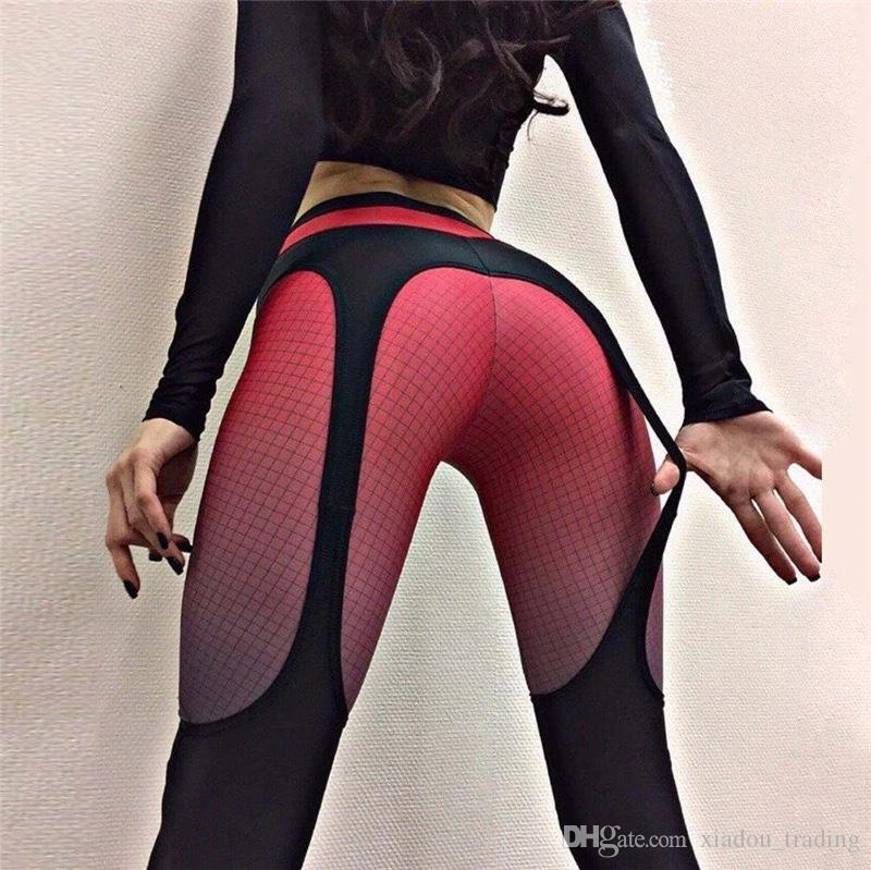 44ceac3f587a49 2019 Women Yoga Leggings High Waist Elastic Sling Printing Stretch Trousers  Pants Compression Tights Fitness Female Gym Running Leggings From  Xiadou_trading ...