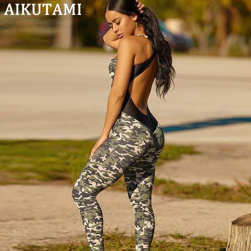 Camouflage Workout Kleidung für Frauen Fitness Jumpsuit Sport Set Mesh Cross rückenfreie Gymnastikbekleidung Sportbekleidung Sportanzüge # 291969