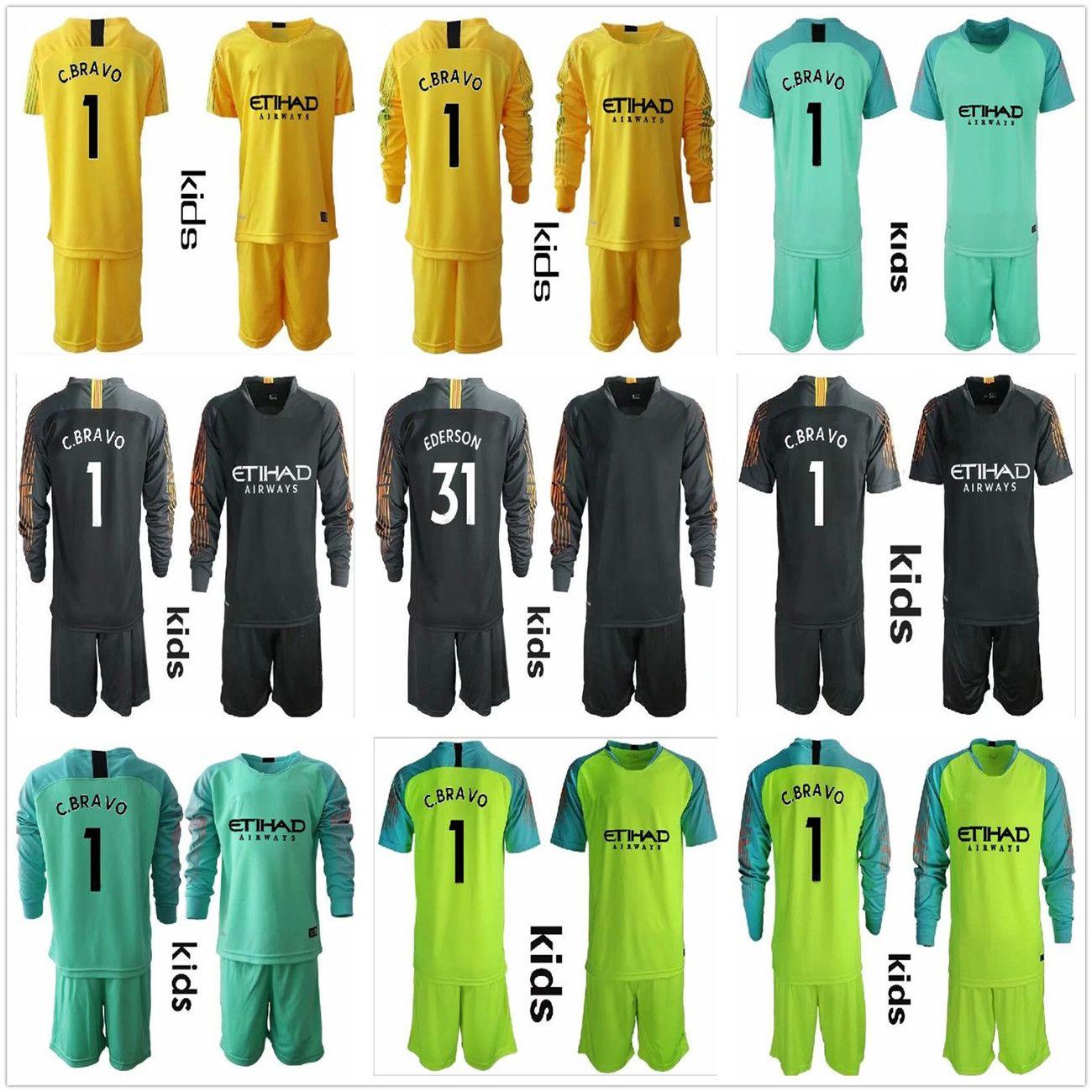 5766e8fbe 2019 2018 2019 Long Kids City Goalkeeper Jerseys Youth Claudio Bravo  Goalkeeper Jersey C. Bravo  31 Ederson Child Goalkeeper Soccer Sets Uniform  From ...