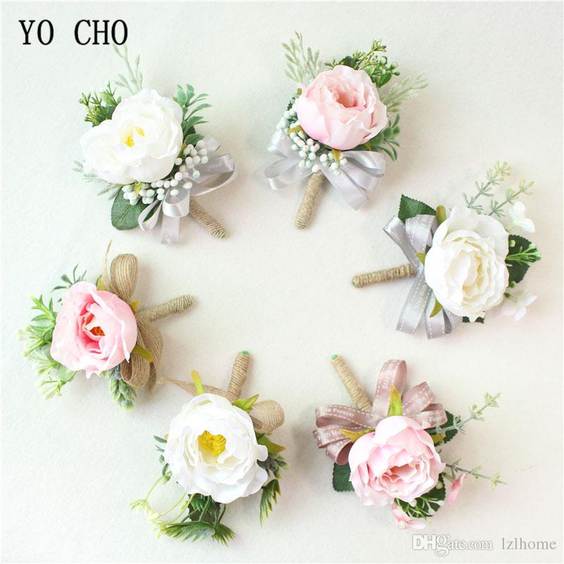 YO CHO Boutonniere Wedding Corsage Groom Brooch Bride Wrist Corsage White Pink Silk Flower Bridesmaid Bracelet Party Marriage Supplies