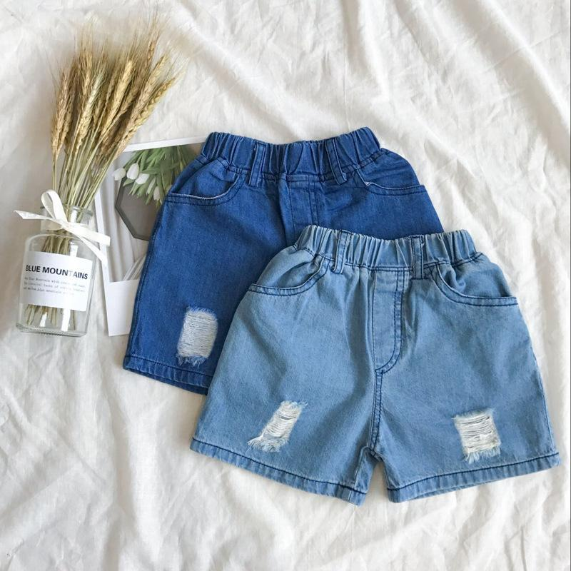 97caab9ed1 Girls Boys Summer Causal Shorts Baby Fashion Holes Denim Blue Trousers Kids  Ripped New Style All Match Shorts Children Clothes White Kids Shorts Denim  ...