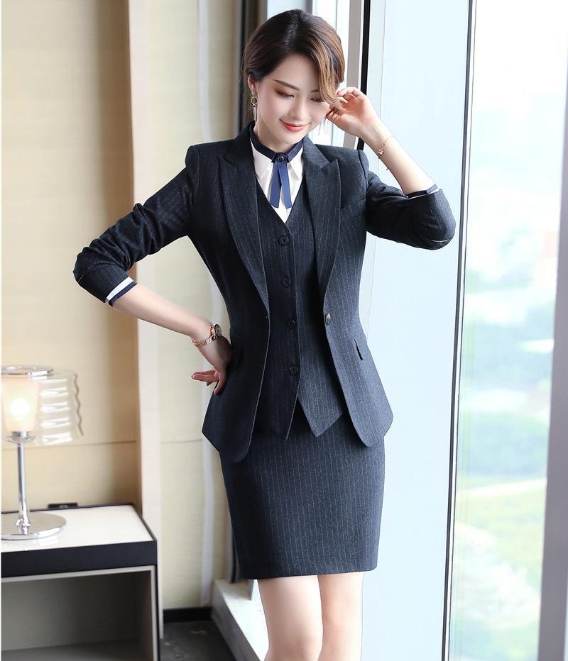 Compre Formal Senhoras Blazers Pretos Mulheres Ternos De Negócios Com 3  Peça Saia 61e51e0665893