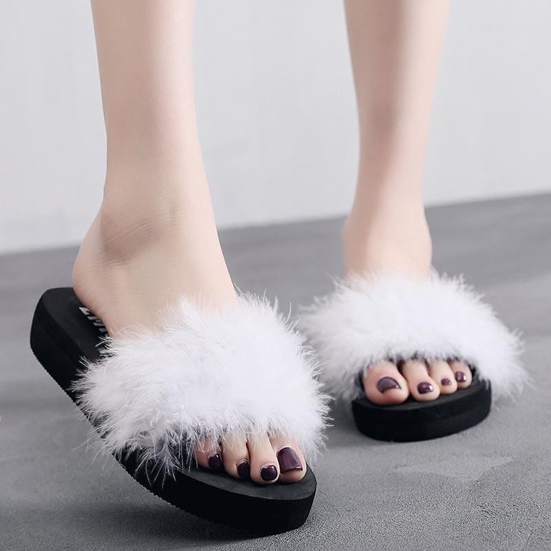 24cdc17c7 Fashion Women Fur Furry Slide Sweet Feather Flat Bottom Beach Shoes Female  Hair Flip Flops Funny Home Sandals Sandalia Feminina Suede Boots Black  Boots For ...