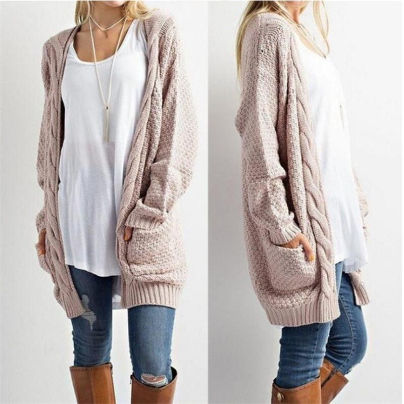 baefce3b82ee3a 2018 2018 Fashion Autumn Winter Knitted Cardigan Long Women Long Sleeve  Knitted Sweater Cardigans Autumn Winter Womens Sweaters S XL From Masue, ...
