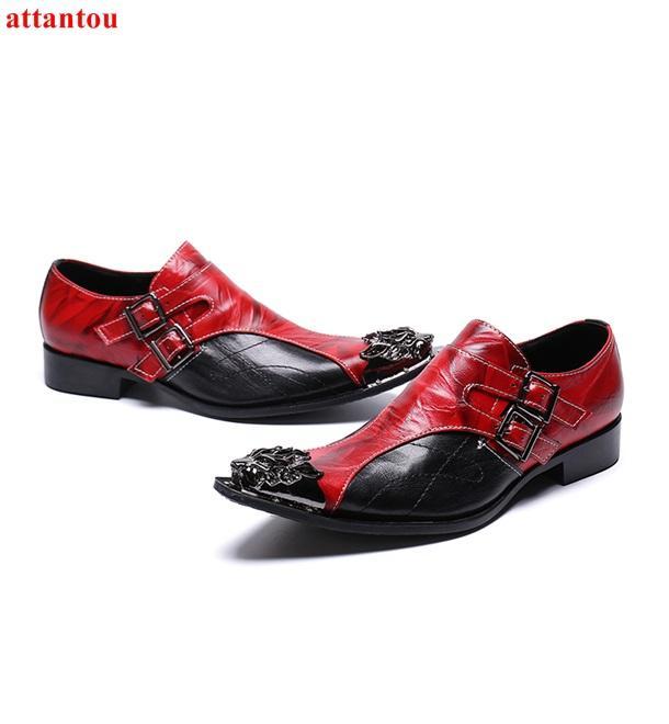 b65ddeee Compre Zapatos De Vestir De Cuero Para Hombres Rojo, Negro, De Color  Mezclado, De Lujo, Zapatos Casuales, Con Punta De Oro, Sin Cordones, Festín  De Oficina, ...