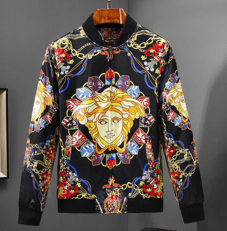 4f29747425 Versace high quality men's brand jacket slim fashion jacket personality  men's comfortable stand collar jacket handsome coat