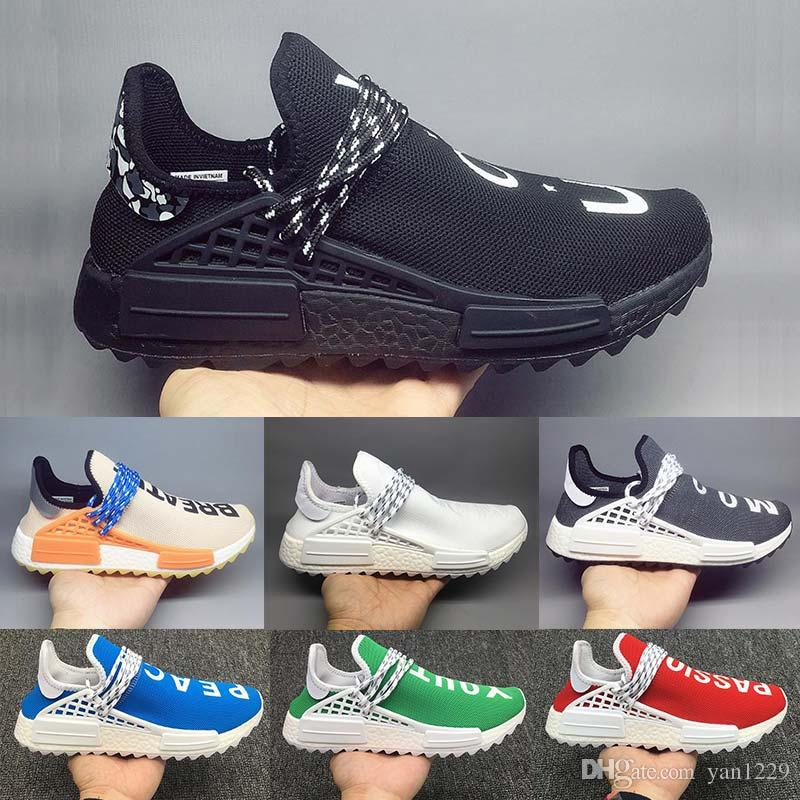 5cadb0b9f 2019 2019 Men Running Shoes PW NERD NMD Human Race Hu Pharrell Williams  Homecoming Solar PacK Aqua Afro Hu Mens Designer Sneakers Athletic Shoes  From ...
