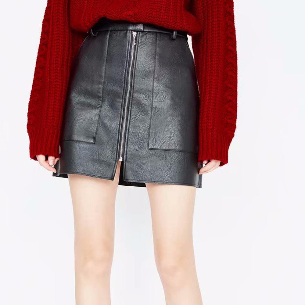 2da9a7a36 2019 Falda de cuero sintético liso Negro Cintura media Cremallera delantera  Sexy Falda de PU Mujeres Elegante Funda Coreana Mini rodilla Una línea ...
