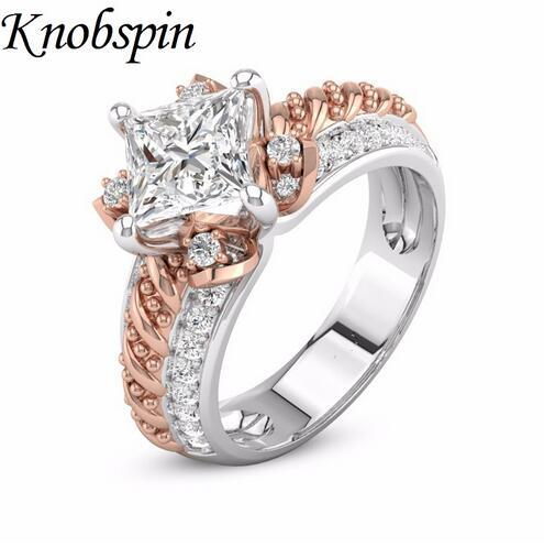 2018 New European Female Creative Rose Gold Color Flower Ring Fashion Brand Jewelry Simple Design Women Rings for Wedding Party
