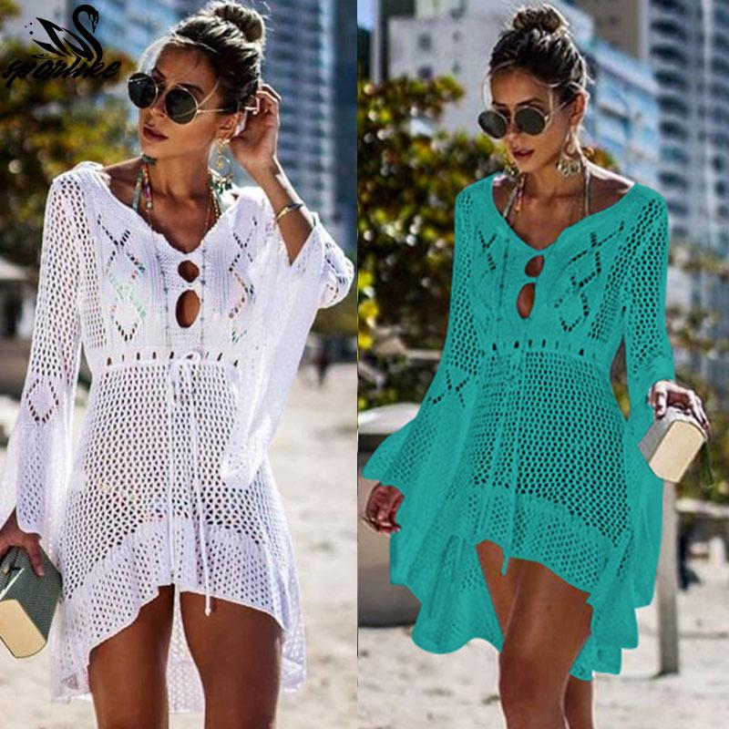 2019 Beach Cover Up Crochet Knitted Tassel Tie Beachwear Tunic Long Pareos Summer Swimsuit Cover Up Sexy See-through Beach Dress J190623